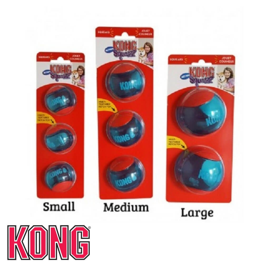 KONG Squeezz Action Rubber Ball Packs KONG Dog Toys Australia