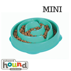 Outward Hound Fun Feeder Slow Feed Dog Bowl Teal Drop Design Mini