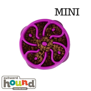 Outward Hound Fun Feeder Slow Feed Dog Bowl Flower Mini