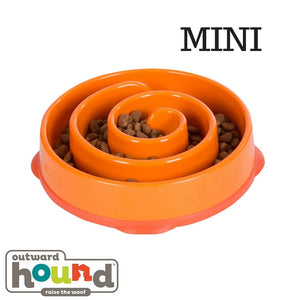Outward Hound Fun Feeder Slow Feed Dog Bowl - Orange Maze Mini