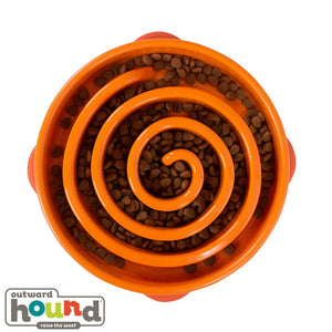 Outward Hound Fun Feeder Slow Feed Dog Bowl - Orange Maze Large
