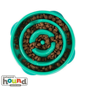Outward Hound Fun Feeder Slow Feed Dog Bowl Teal Drop Design Large