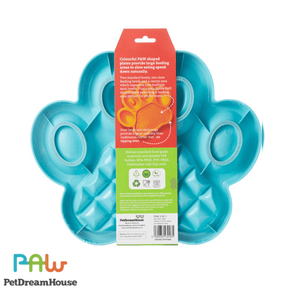 PAW 2-in-1 Slow Feeder & Anti-Anxiety Food Lick Pad and Bowl Combo - Blue