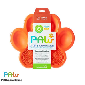PAW 2-in-1 Slow Feeder & Anti-Anxiety Food Lick Pad and Bowl Combo - Orange