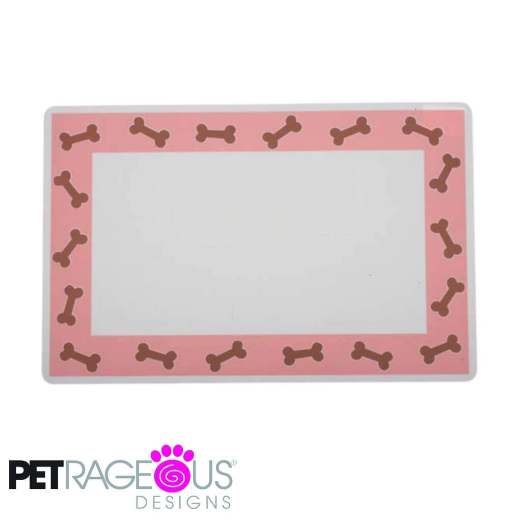 Petrageous Dog Placemat - Pink Bones