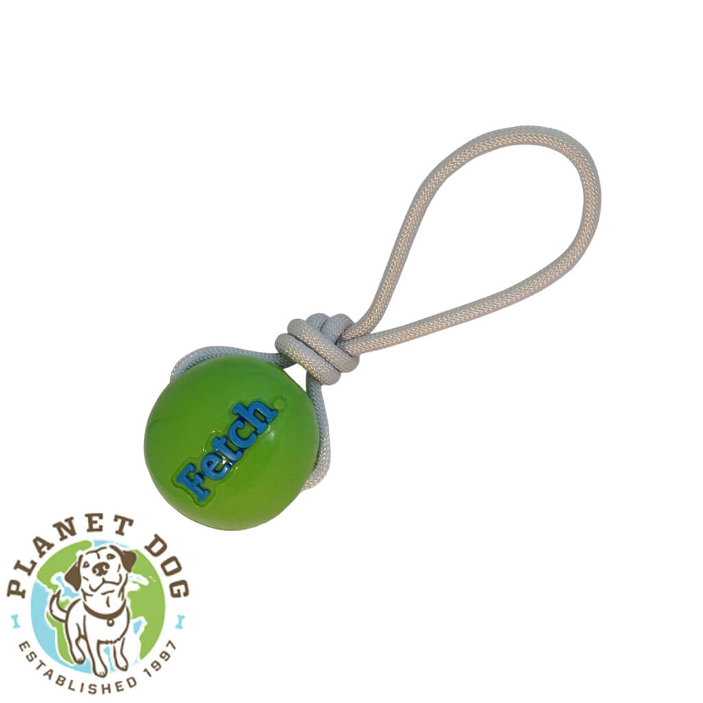 Planet Dog Orbee-Tuff Fetch Ball on Rope Green Planet Dog Australia