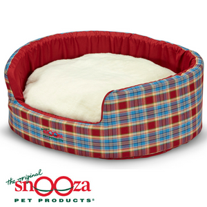 Snooza-buddy-bed-woolly-cushion-red-blue-tartan