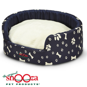 Snooza-buddy-bed-woolly-cushion-paws-and-bones-navy