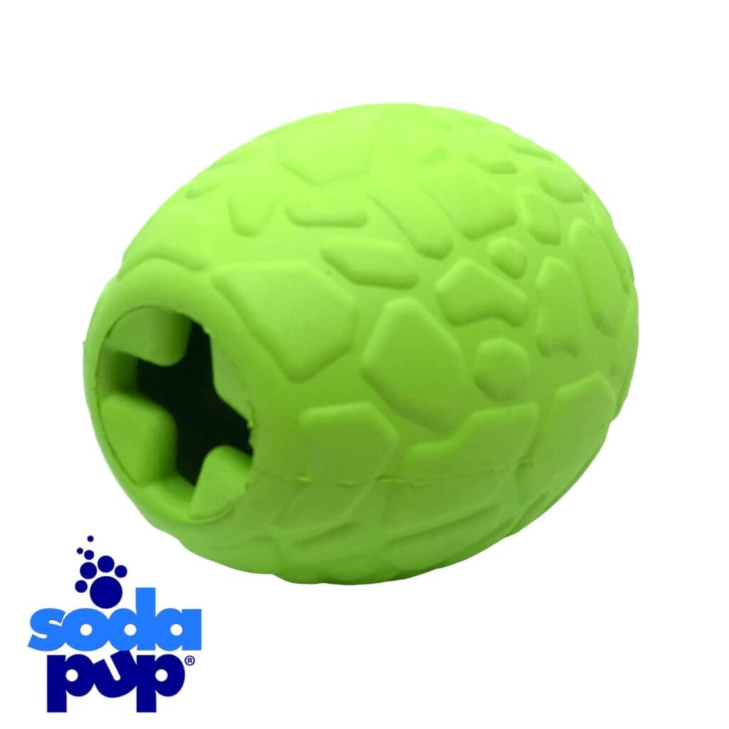 SodaPup Dinosaur Egg Durable Rubber Chew Toy and Treat Dispenser