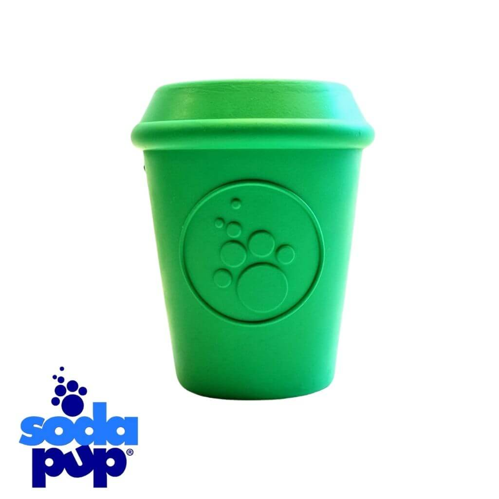 SodaPup Coffee Cup Green - Tough Dog Toy and Treat Dispenser