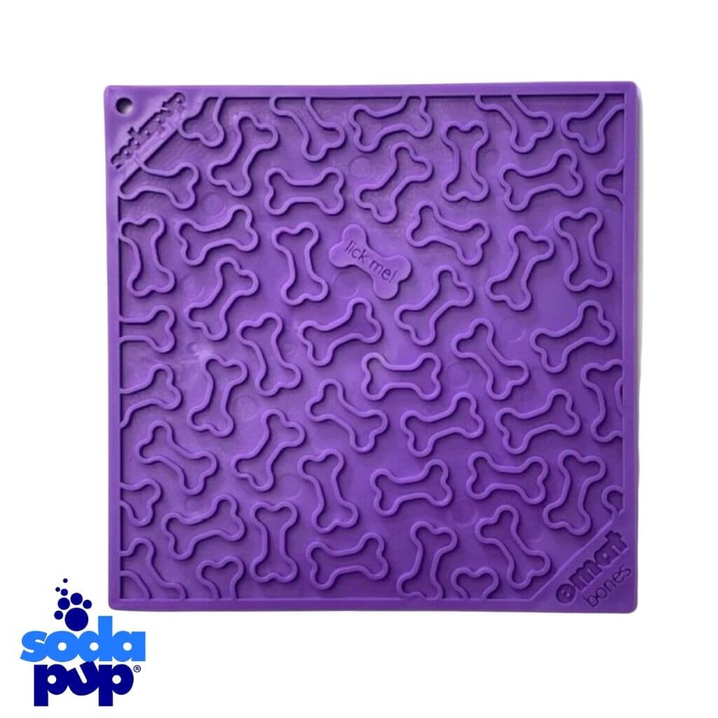 SodaPup Emat Purple Bones Dog Licking Mat