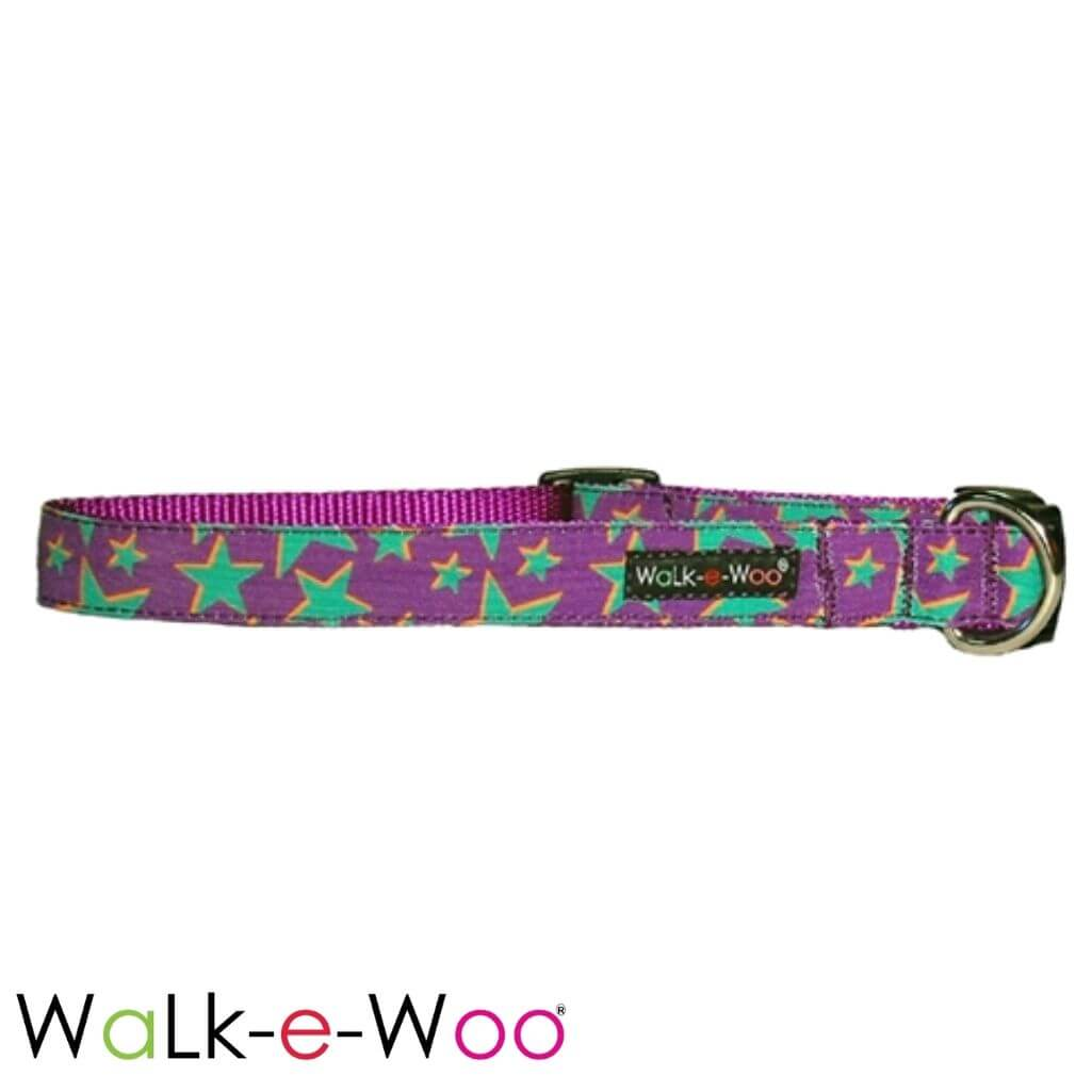 Walk-e-Woo Dog Collar Green Star on Purple
