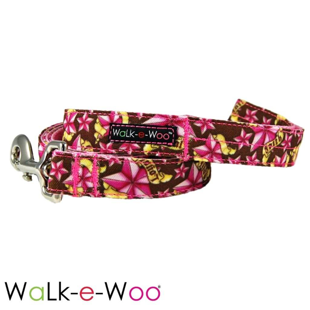 Walk-e-Woo Dog Leash Pink Rock Star