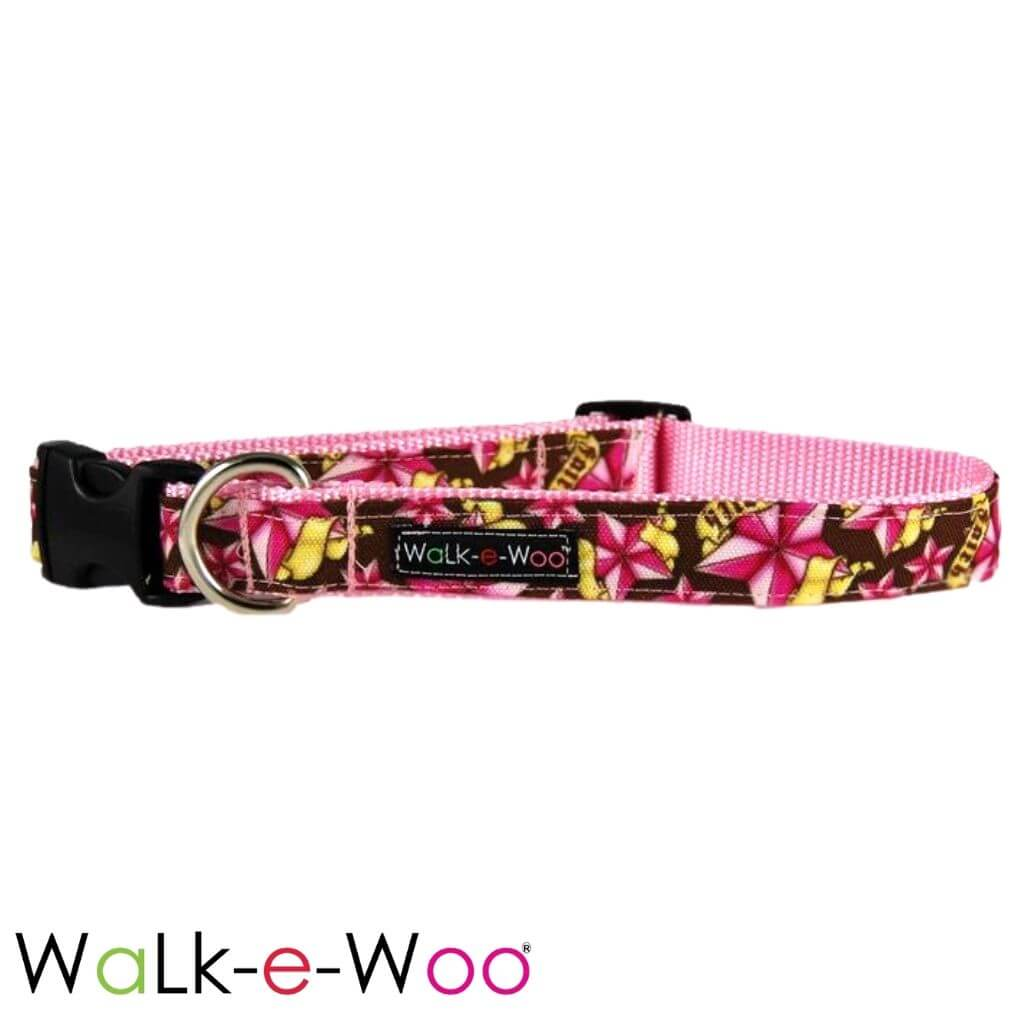 Walk-e-Woo Dog Collar Pink Rock Star