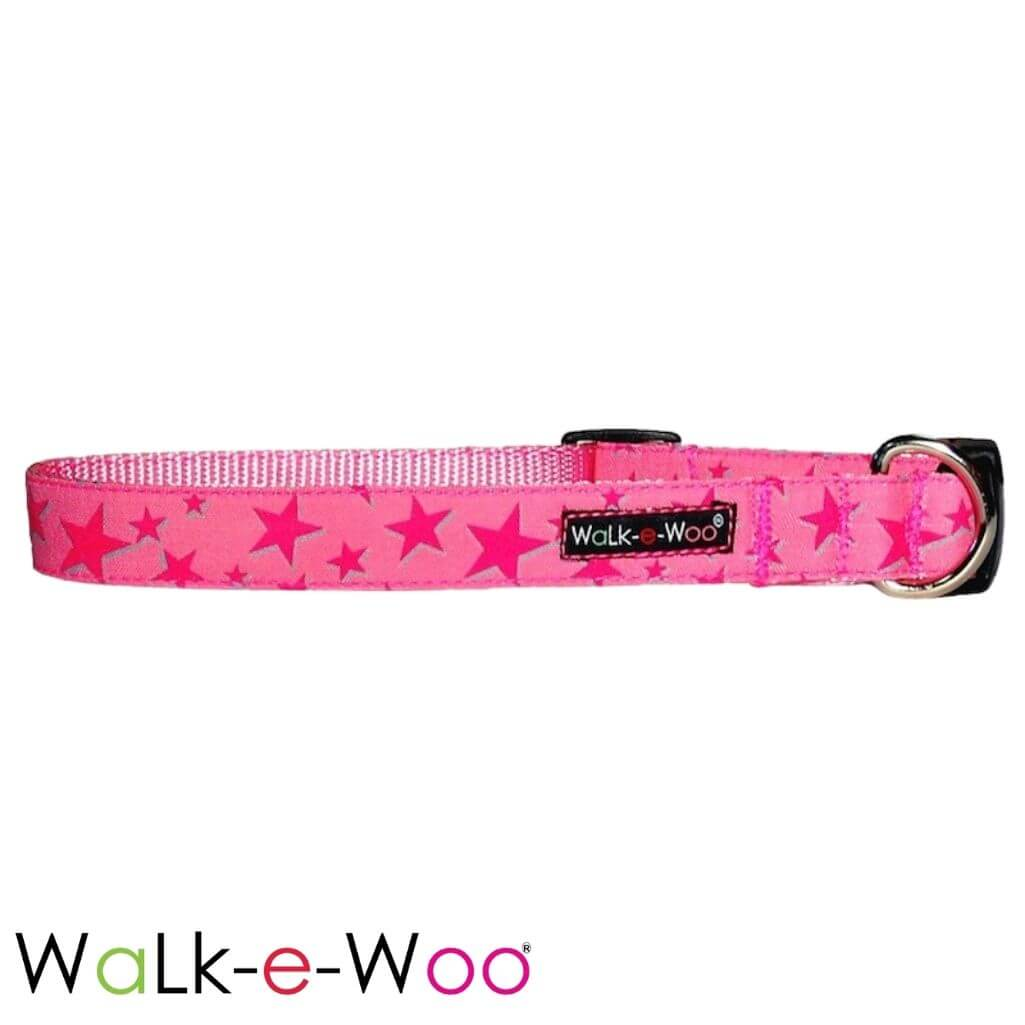 Walk-e-Woo Dog Collar Pink Stars on Pink