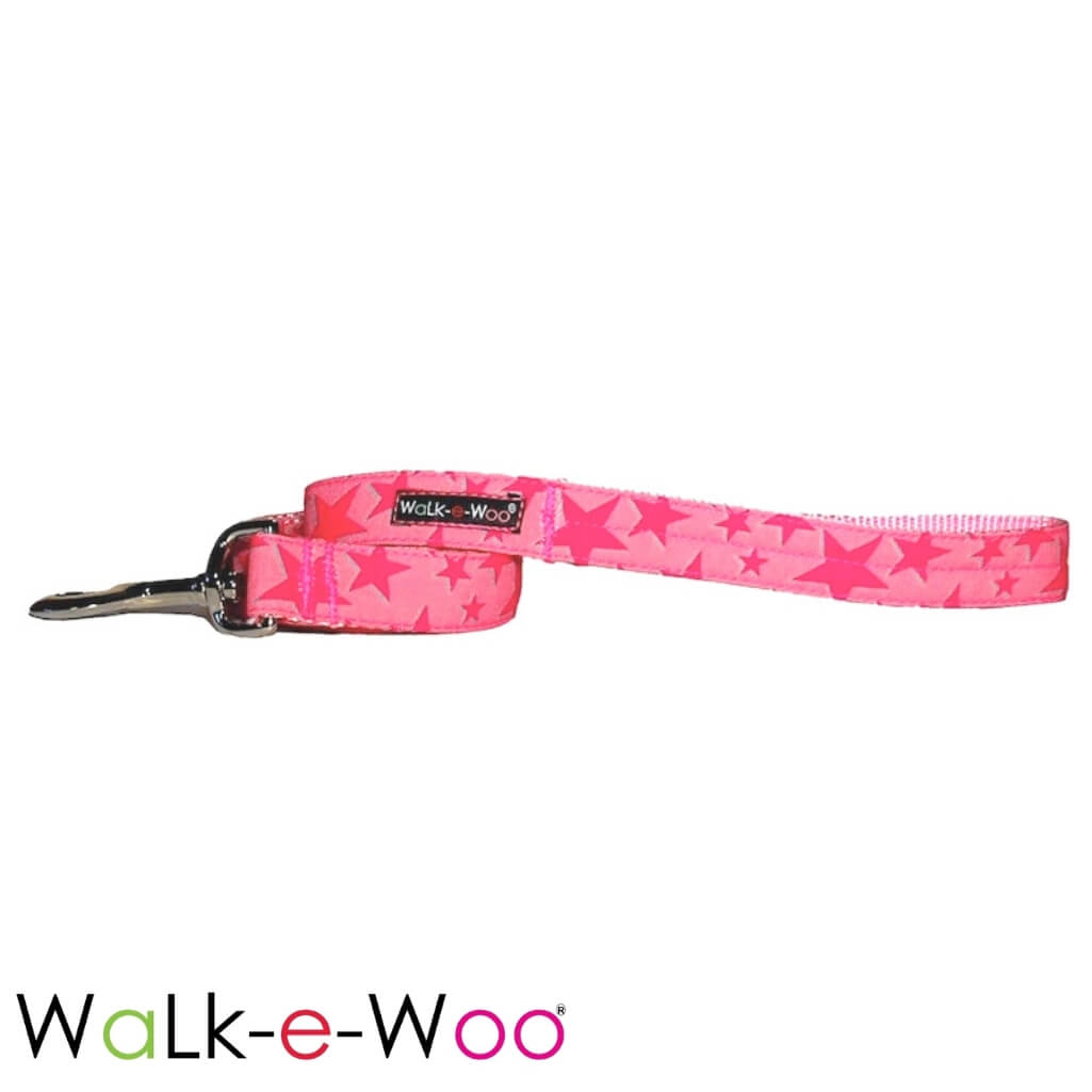 Walk-e-Woo Dog Leash Pink Stars on Pink