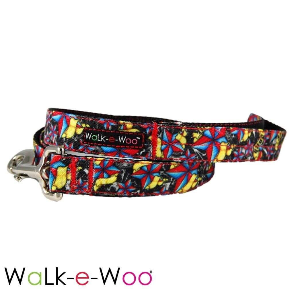 Walk-e-Woo Dog Leash Red + Blue Rock Star