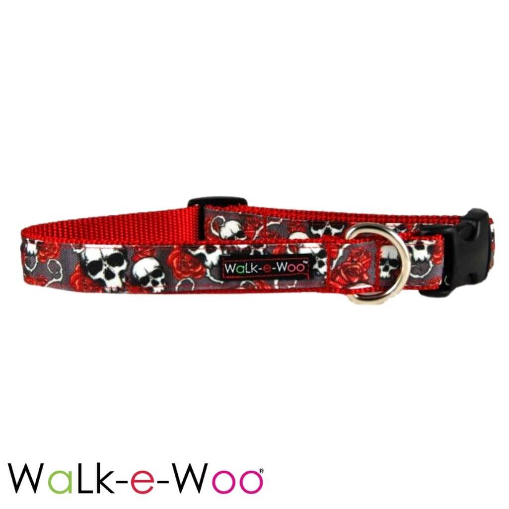 Walk-e-Woo Dog Collar Skulls N' Roses