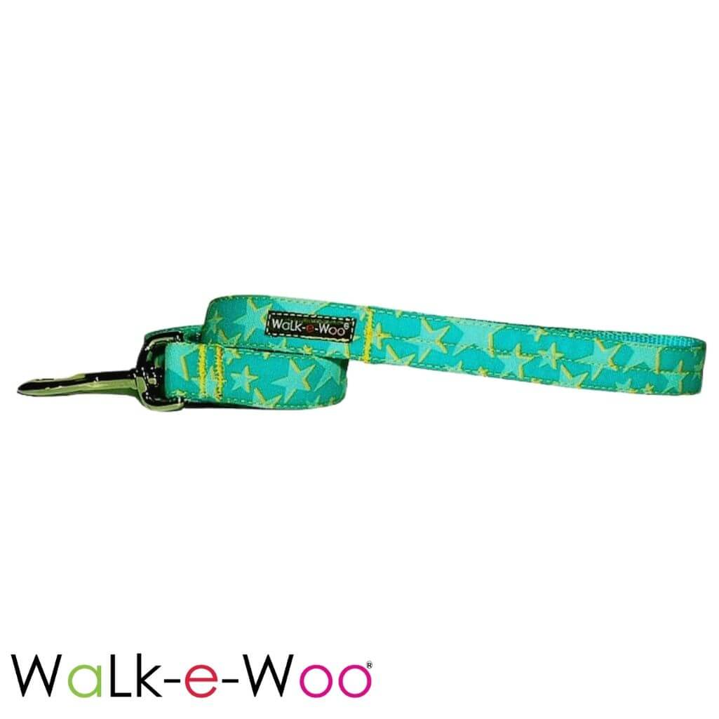 Walk-e-Woo Dog Leash Stars Aqua on Turquoise