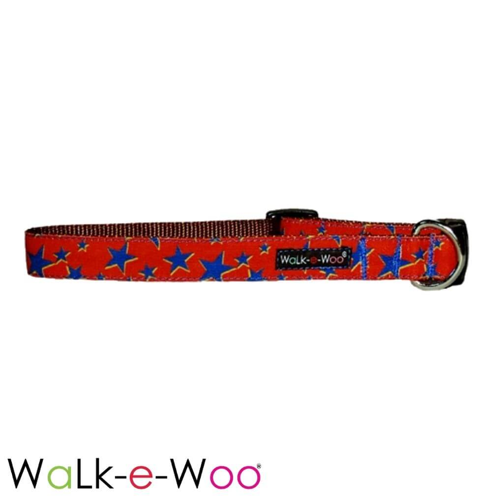Walk-e-Woo Dog Collar Blue Stars on Red