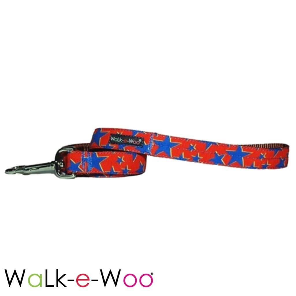 Walk-e-Woo Dog Leash Stars Blue Star on Red
