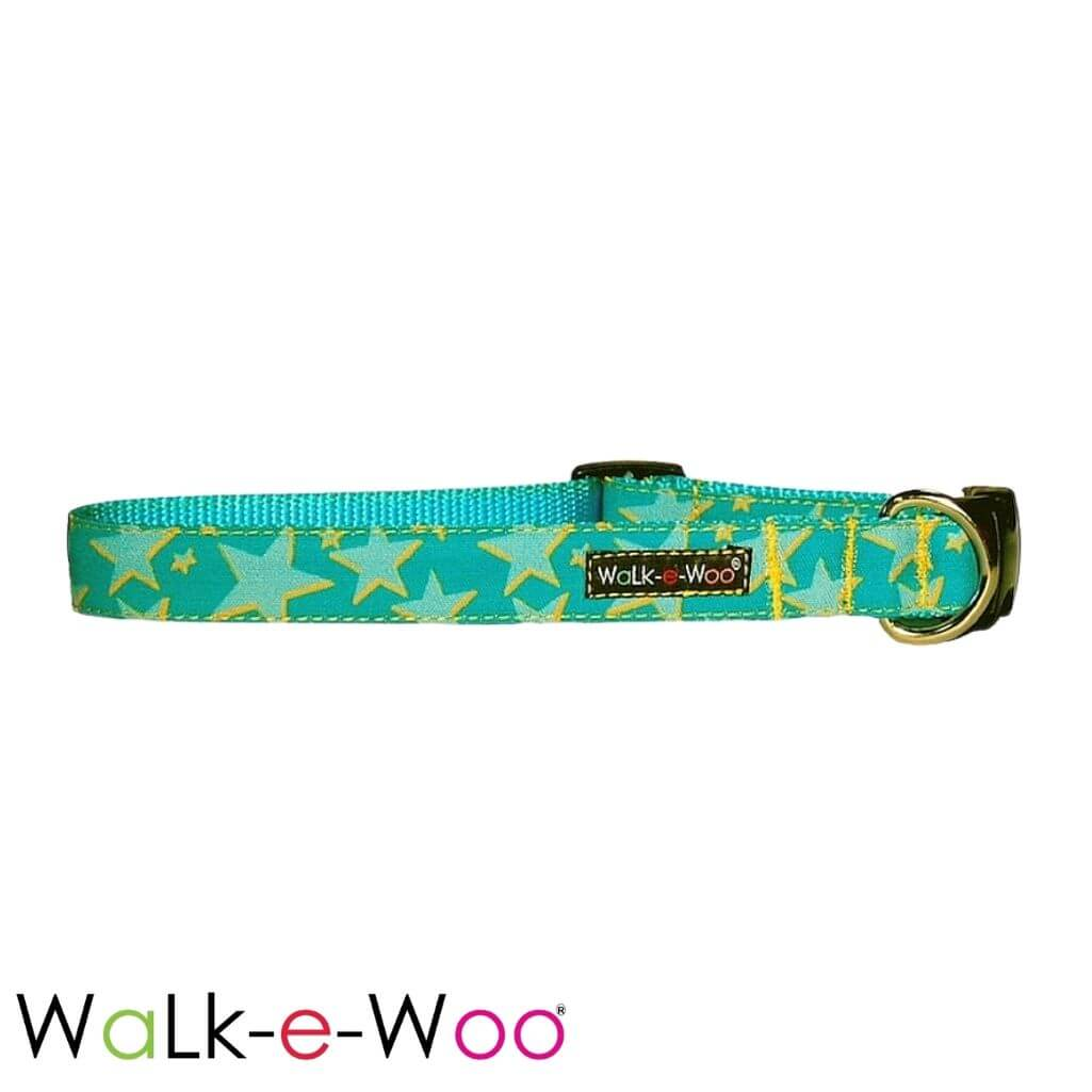 Walk-e-Woo Dog Collar Stars Aqua on Turquoise