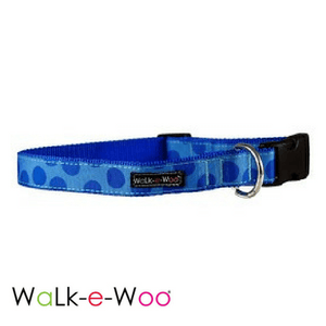 Walk-e-Woo Dog Collar Blue Dots on Blue