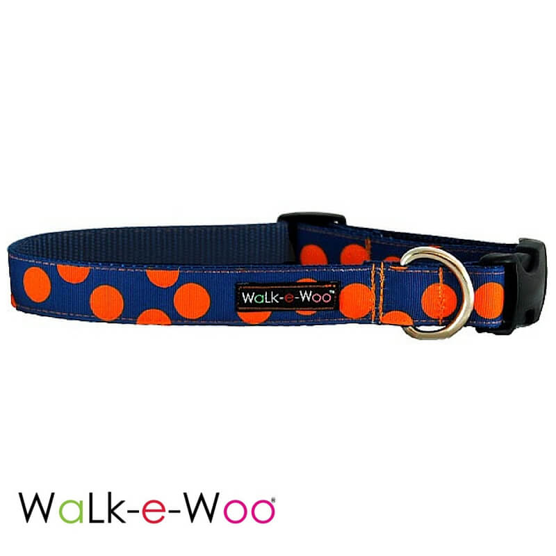 Walk-e-Woo Dog Collar Orange Dots on Blue
