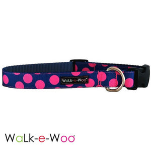 Walk-e-Woo Pink Dots on Blue Dog Collar