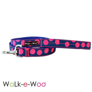 Walk-e-Woo Pink Dots on Blue Dog Leash