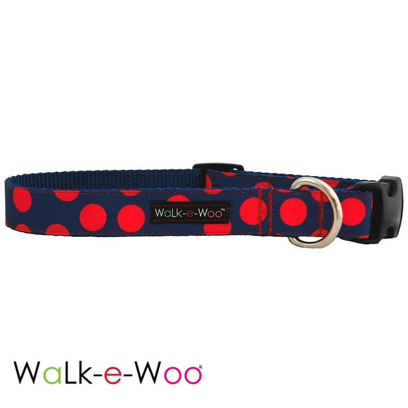 Walk-e-Woo Dog Collar Red Dots on Blue