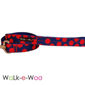 Walk-e-Woo Dog Leash Red Dots on Blue