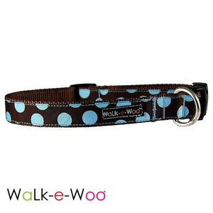 Walk-e-Woo Dog Collar Blue Dots on Brown