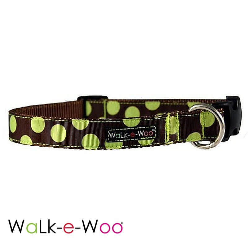 Walk-e-Woo Green Dots on Brown Dog Collar