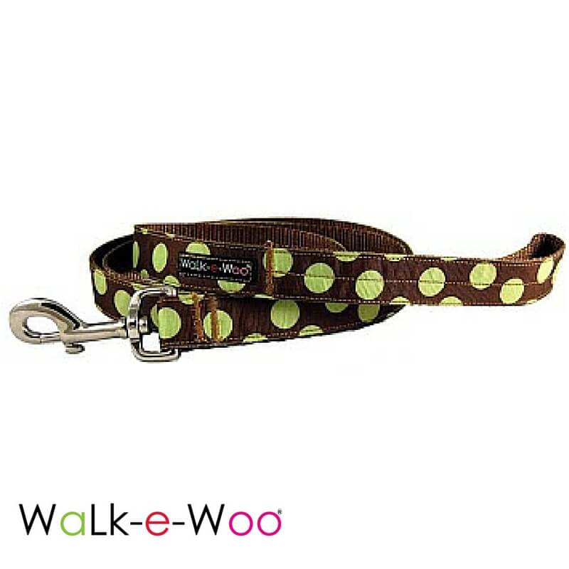 Walk-e-Woo Dog Leash Green Dots on Brown