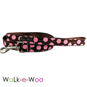 Walk-e-Woo Pink Dots on Brown Dog Leash