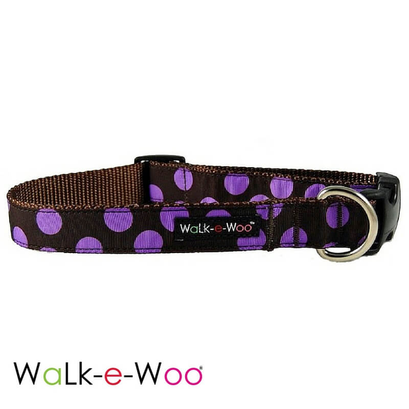 Walk-e-Woo Purple Dots on Brown Dog Collar