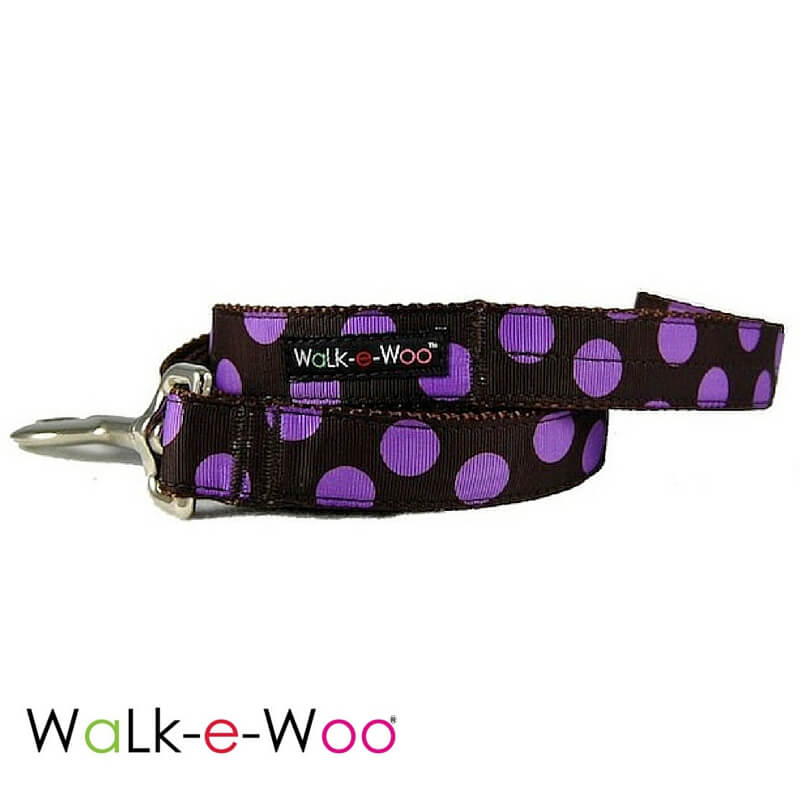 Walk-e-Woo Dog Leash Purple Dots on Brown