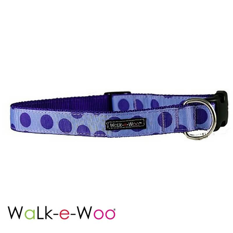 Walk-e-Woo Dog Collar Purple Dots on Purple