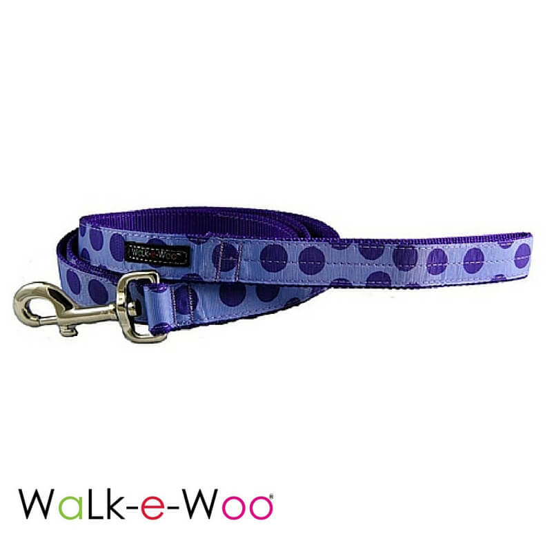 Walk-e-Woo Dog Leash Purple Dots on Purple