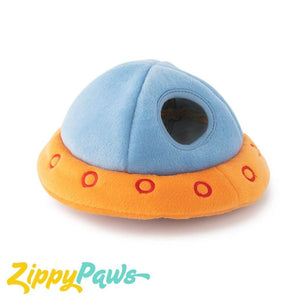Zippy Paws Interactive Burrow Plush Dog Toy - 3 Aliens in a UFO