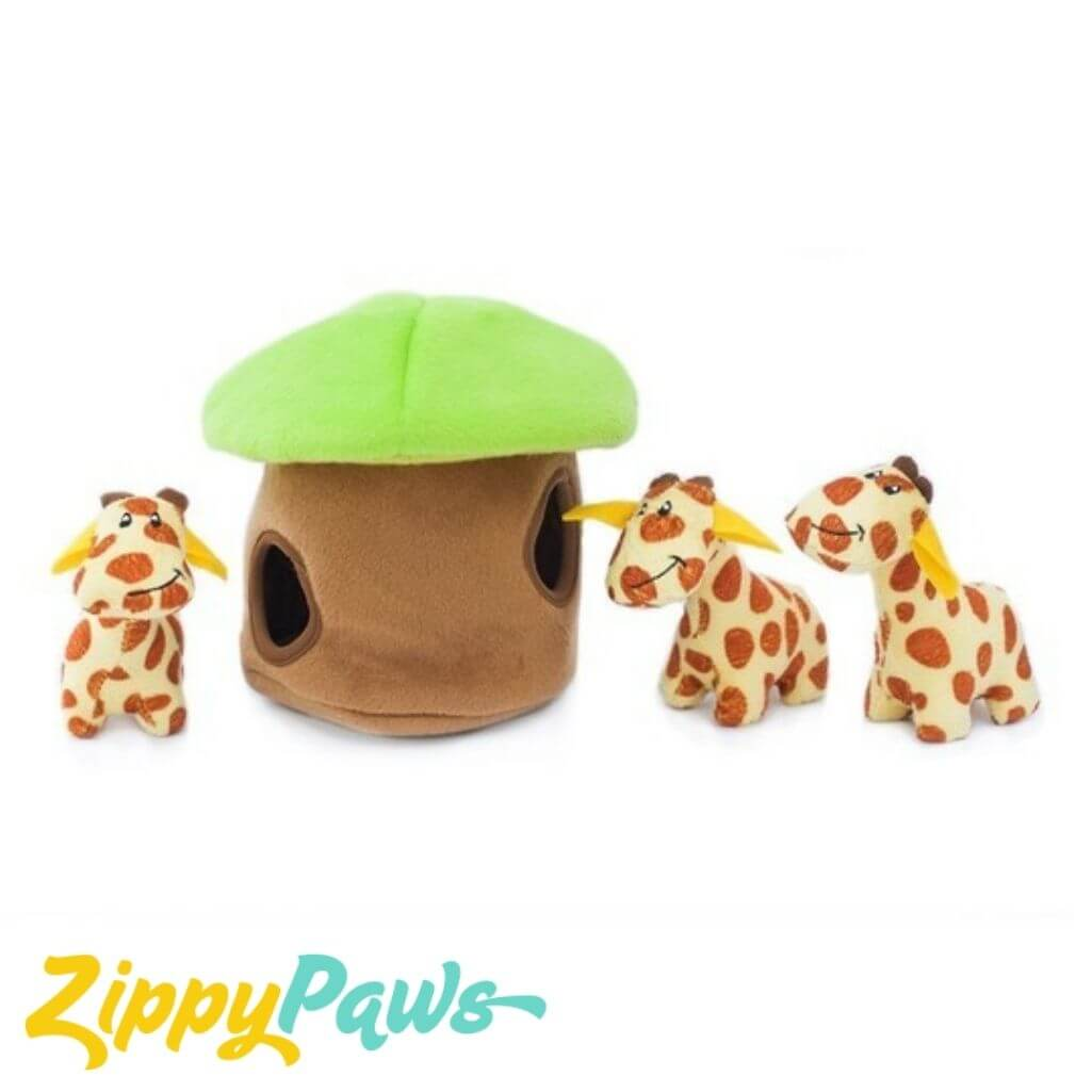 Zippy Paws Interactive Burrow Plush Dog Toy - Giraffe Lodge with 3 Squeaky Giraffes