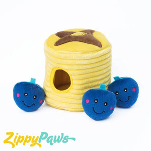 Zippy Paws Interactive Burrow Plush Dog Toy - Blueberry Pancakes