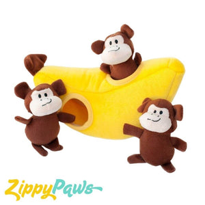 Zippy Paws Burrow Interactive Dog Toy - Monkey 'n Banana