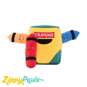 Zippy Paws Australia Burrow Interactive Dog Toy - Crayon Box with 3 Crayons