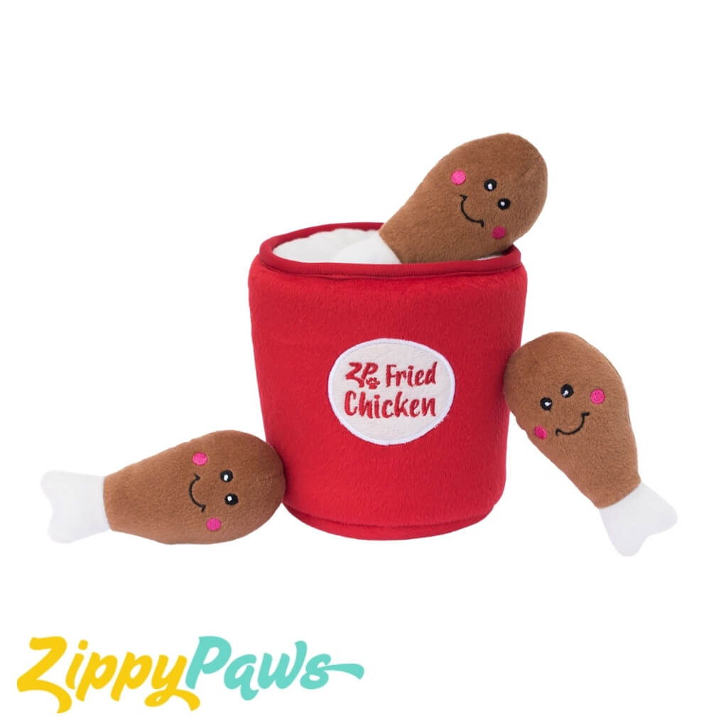 Zippy Paws Burrows Interactive Dog Toys - Bucket of Chicken