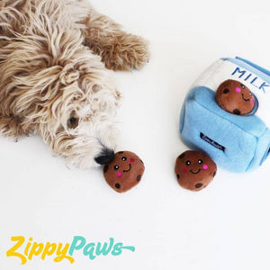 Zippy Paws Burrow Interactive Dog Toy - Milk and Cookies