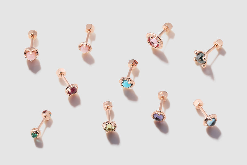 Ear piercing studs made with real solid gold
