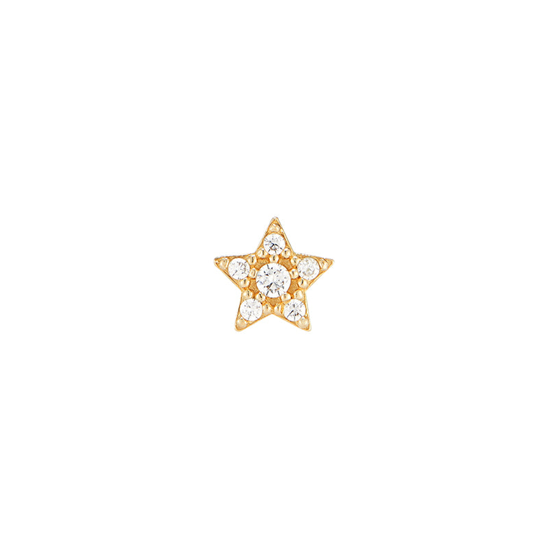 Small Pave Star Ear Piercing- 14K Gold