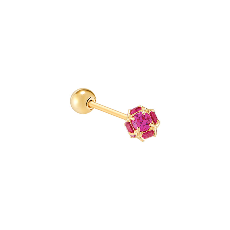 Gem Ball Stud Ear Piercing- 14K Gold